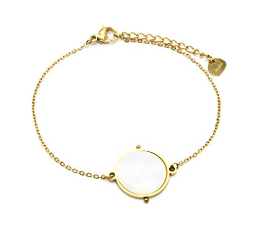 Oh My Shop BC4265 - Pulsera fina con cadena con piedra redonda de nácar y contorno de acero dorado