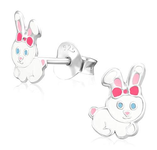 Laimons Mädchen Kids Kinder-Ohrstecker Ohrringe Kinderschmuck Hase Kaninchen 8 x 5 mm weiß, rosa Sterling Silber 925