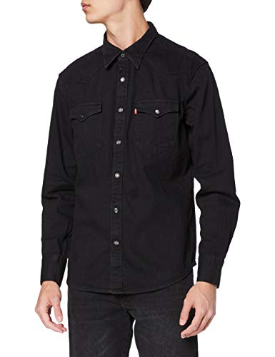 Levi's Herren Barstow Western Standard Freizeithemd, Black (Marble Black Denim Rinse 0002), X-Large