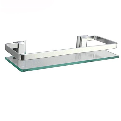 Étagères de salle de bain/cuisine/douche HomeYoo en verre trempé et en aluminium - À fixation murale - Rectangulaire, 1 Tier