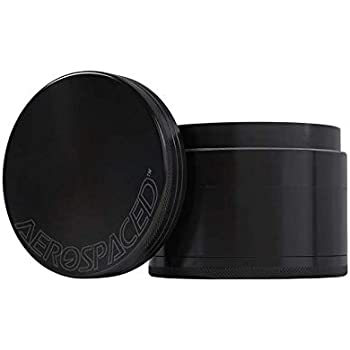 Aerospaced 4 Piece Herb Grinder With a Pollen Catcher Metal 1.7 Inch Black Pick Tool Included