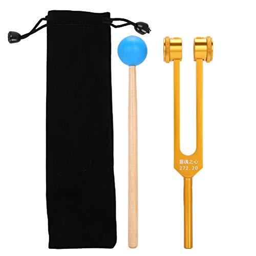 272.2HZ Tenedor de afinación, aleación de aluminio Yoga Meditación Tenedor de energía de afinación con martillo, Tenedor curativo para reparación de ADN Sonido curativo
