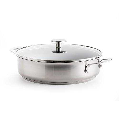 KitchenAid Edelstahl Pfanne, Schmorpfanne Induktion, Antihaft Pfanne mit Edelstahlgriffen, Backofen- und Spülmaschinengeeignet - 28 cm/4.3 L