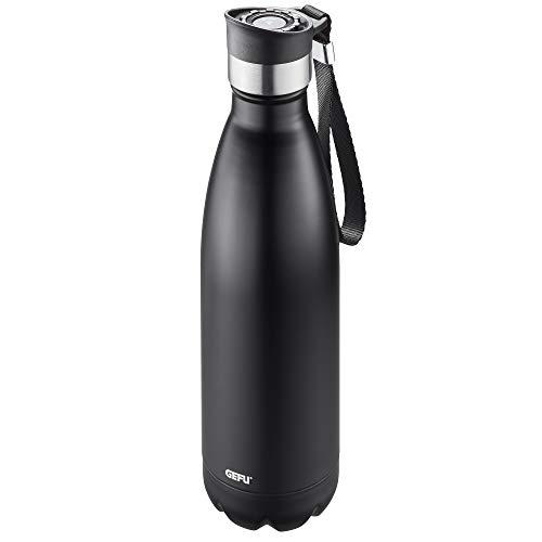 GEFU Trinkflasche OLIMPIO, Thermoflasche aus Edelstahl, Kohlensäure geeignet, Isolierflasche mit Schlaufe, auslaufsicher, 0.75 l, schwarz