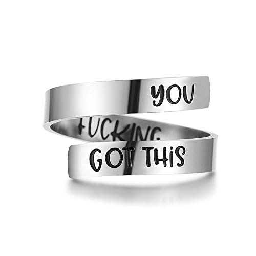 ZRAY Silver Keep Going Ring Inspirational Jewelry Stainless Steel Engraving Size Adjustable Personality Encouragement Gift for Women Teens Girls