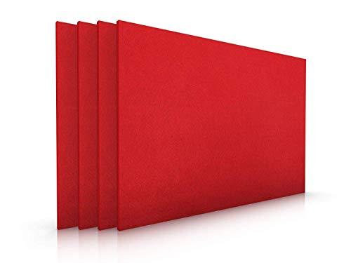 Casoro Edles Filz Platzset im 4er Set in kräftigem Rot, Moderne Tischmatten abwischbar, hochwertige Platzmatten 30x45cm, weitere Farben, pflegeleichtes Tisch-Accessoire, Filzmatten 4 Stück 4mm dick