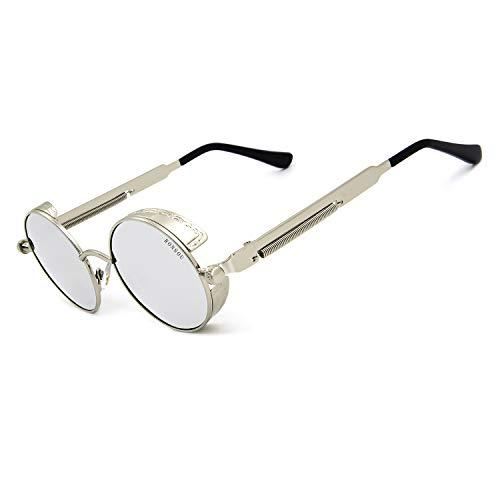 Ronsou Steampunk Style Round Vintage Polarized Sunglasses Retro Eyewear UV400 Protection Matel Frame silver frame/silver lens
