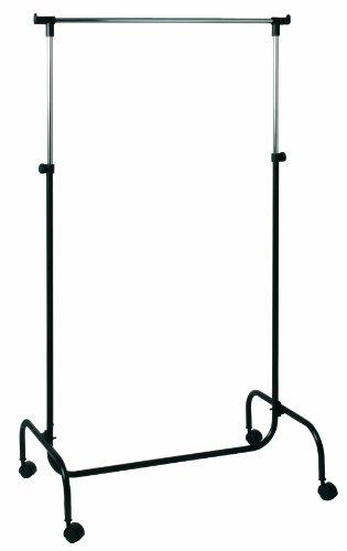 HAKU Möbel 43078 Rollgarderobe 80 x 45 x 110/170 cm, schwarz / chrom