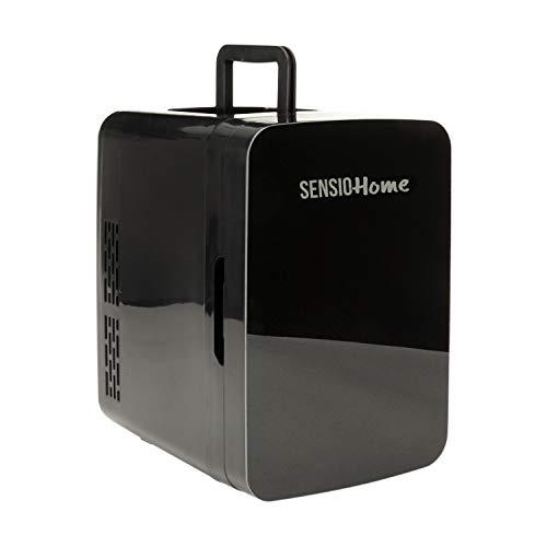 SENSIOHOME 10L Mini refrigeratore e riscaldatore   Compatibilità alimentazione AC + DC - Spina UK & EU   Compatto, portatile e silenzioso, Per la casa, camera da letto, auto, auto, vacanze (Nero)