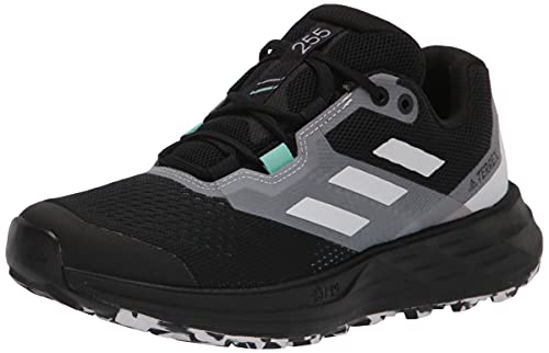 adidas Women's Terrex Two Flow Trail Running Shoe, Core Black/Crystal White/Clear Mint, 9