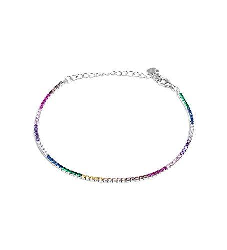 Remo Gammella Joyas pulsera hombre mujer tenis plata 925 bañada en oro blanco y circonitas Rainbow multicolor con corte diamante de 2 mm. Tamaño ajustable de 17 a 21 cm