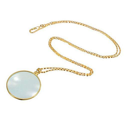 BIYI Collar monóculo Decorativo con Lupa 6X Lupa Colgante Collar de Cadena para joyería de Mujer (Oro)