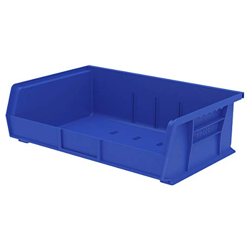 Akro-Mils 30255 AkroBins Plastic Storage Bin Hanging Stacking Containers, (11-Inch x 16-Inch x 5-Inch), Blue, (6-Pack)