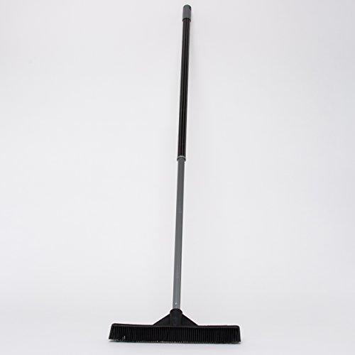 Sweepa Gummibesen Industriebesen Friseurbesen Haarbesen Noppenbesen, mit Abziehlippe und Teleskopstiel, 47 cm