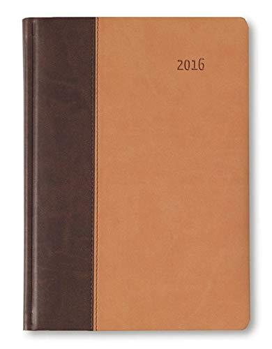 Buchkalender Premium Earth braun/sand 2016 - Bürokalender A5 / Cheftimer A5 - 1 Tag 1 Seite - 416 Seiten