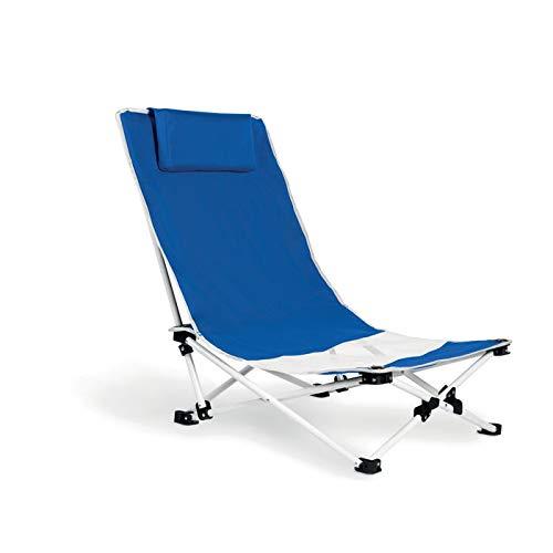 Publiclick Silla Plegable Playa Azul con cojín Cervical. Estructura de Aluminio y...