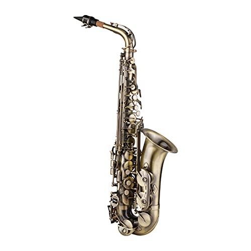 Nesface Sassofono contralto in mi bemolle stile vintage sax contralto in mib strumento a fiato con custodia da collo cinghie zaino bocchino per principiante studente giocatore intermedio Sassofono con