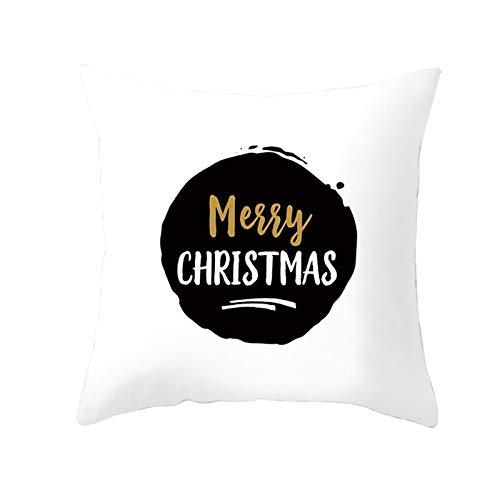 ANAZOZ 1 Funda Cojin 45 x 45,Fundas Cojin Poliéster Simple Merry Christmas Blanco Negro Style 1