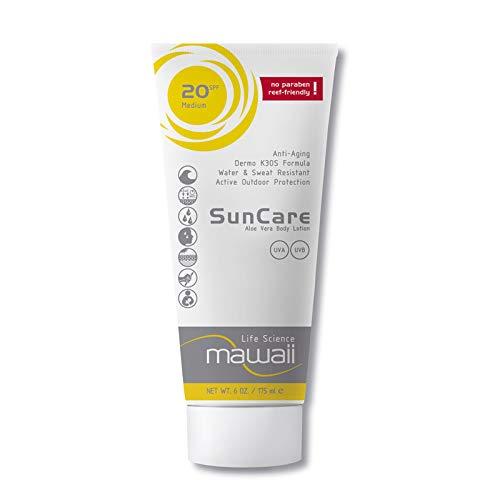 mawaii SunCare SPF 20 - wasserfeste und schweissresistente Sonnencreme, reef-friendly, ideal für Wassersport und Outdoor-Sport, Anti-Aging Sonnenschutz, Sonnenmilch ohne Parabene (1 x 175ml)