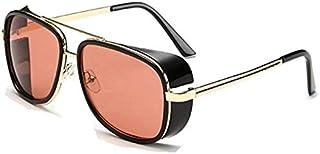 Vintage Retro Aviator Sunglasses Square Metal Frame for Men Women Sunglasses Iron Man Tony Edith Stark Gradient Lens