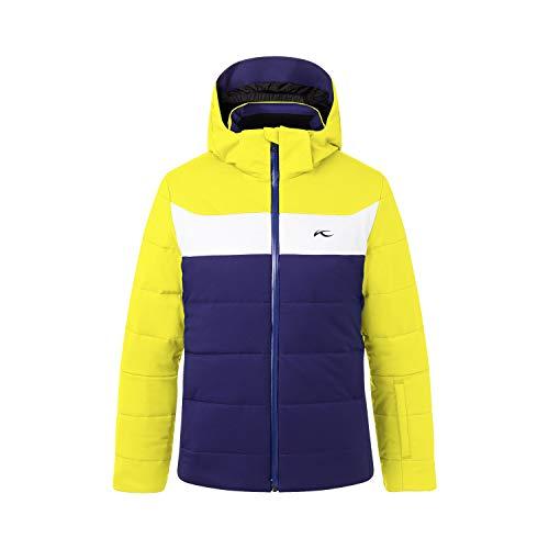 KJUS Boys Downforce Jacket Blau-Gelb, Kinder Daunen Regenjacke, Größe 152 - Farbe Into The Blue - Citric Yellow