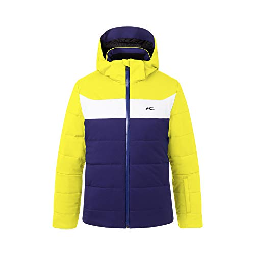 KJUS Boys Downforce Jacket Blau-Gelb, Kinder Daunen Jacke, Größe 152 - Farbe Into The Blue - Citric Yellow