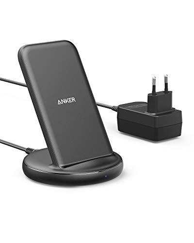 Anker PowerWave II Ladeständer, Qi-zertifizierter kabelloses Ladegerät mit 15W Max, mit Power Adapter Netzteil, für iPhone 11, 11 Pro, Xs, Xs Max, XR, X, 8, Galaxy S10 S9 S8, Note 10 Note 9 und mehr