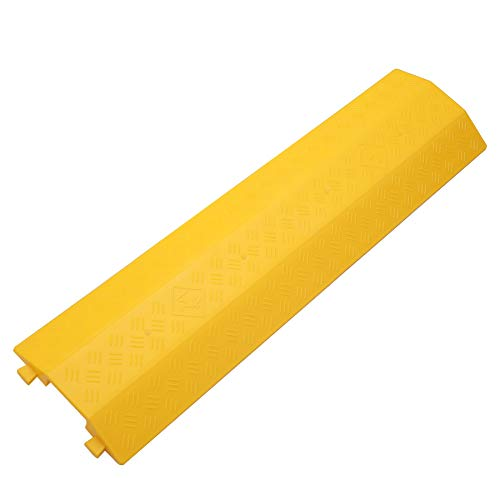 Anbotek - Medium 1 Piece - Floor Cord Cover Cord Protector Drop Over Drop Trak Cable Ramp for Office Warehouse - Yellow