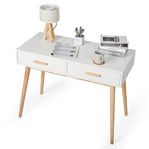 Meerveil Schreibtisch, Computertisch mit 2 Schubladen Stabil Modern Einfach für Arbeitszimmer Schlafzimmer und Büro, 100 x 48 x 75 cm, Weiß