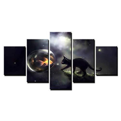 Canvas HD Prints Poster muurkunst Moderne abstracte vis foto's 5 stuks zwarte kat bellen goudvis schilderen wooncultuur 40x60cmx2,40x80cmx2,40x100cmx1 Geen frame.