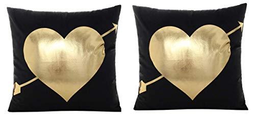 2 Federe Cuscino Quadrato 44 x 44 cm Cuore Cupido Oro Nero Idea Regalo Natale Compleanno Festa