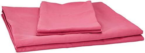 AmazonBasics Juego de sábanas, microfibra suave y fácil de lavar, infantil, matrimonial, rosado intenso