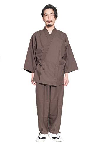 作務衣 久留米織 40番 手双糸 メンズ 久留米 綿 おしゃれ 日本製 全5色 久留米織 さむえ 男性 サイズ 部屋着 作業着 ルームウェア かっこいい カジュアル 和装 (LL, 茶色)