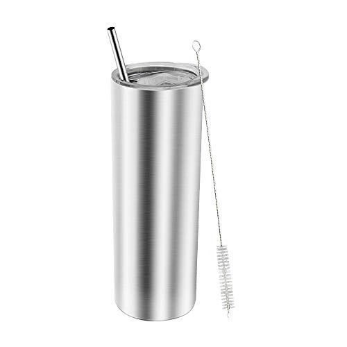 AGH Stainless Steel Skinny Tumbler Set, 20 oz Reusable Coffee Mug with Straw and Lid, Double Wall Insulated Travel Mug for Iced Hot Water, Beverages, Easy to Hold and Clean (Silver)