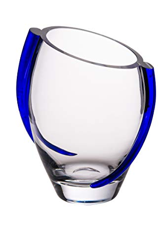 """Barski Glass Vase with Cobalt Swirl - 9.25"""" H European Quality - Beautiful Designed with Blue Swirl - Mouth Blown - Hand Made - 9.25"""" Height - Made in Europe"""