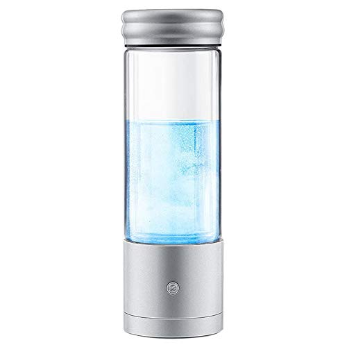 HEN'GMF Glass Hydrogen Generator Water Bottle, Portable USB Rechargeable Ionized Water Generator, Anti Aging Antioxidant Glass Bottle, SPE PEM Technology Water Ionizer