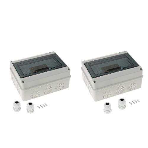 yotijar 2 cajas de distribución de 8 vías de plástico con interruptores impermeables para