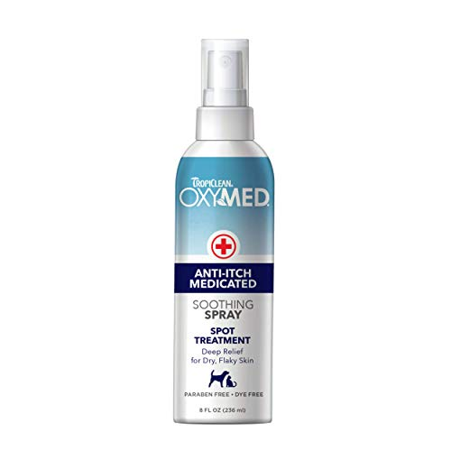 TropiClean OxyMed Medicated Anti itch Spray for Pets, 8oz, Made in USA - Stops Itching Fast