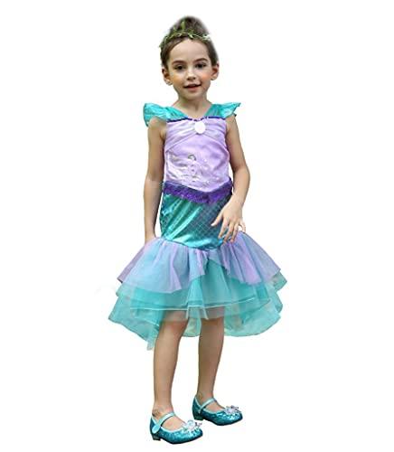 Lito Angels Niñas Disfraz de Princesa Ariel Sirenita Vestidos Disfraces Fiesta Cumpleaños Halloween Talla 5-6 años