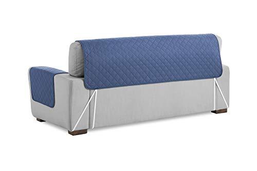Textilhome - Salvadivano Trapuntato Copridivano Malu 3 posti Reversibile. Colore Blu