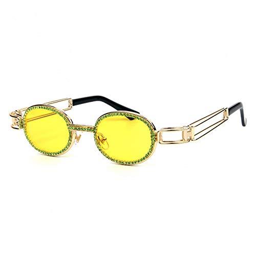 YIERJIU Gafas de Sol Gafas de Sol ovaladas de Diamantes de imitación de Lujo para Mujeres Hombres Marco de Metal Steampunk Gafas de Sol Vintage de Diamantes oculos de Sol Masculino,C2 Yellow