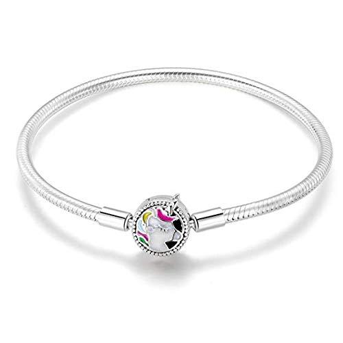 Pulsera de plata de ley 925 con colgante de unicornio colorido, pulsera de cadena de serpiente para mujeres, niñas, adolescentes, 17 cm, regalo de San Valentín con caja