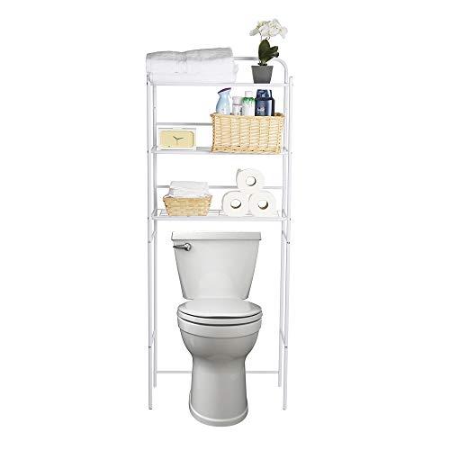 Mind Reader 3TOILR-BLK - Estantería de 3 Niveles, Unidad de Inodoro, Ahorro de Espacio en el baño, Blanco, 1