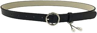 SGJFZD Women's Thin Belt Pearl Pendant Belt Jeans Dress Wild Fashionable Decorative Belt (Color : Black)