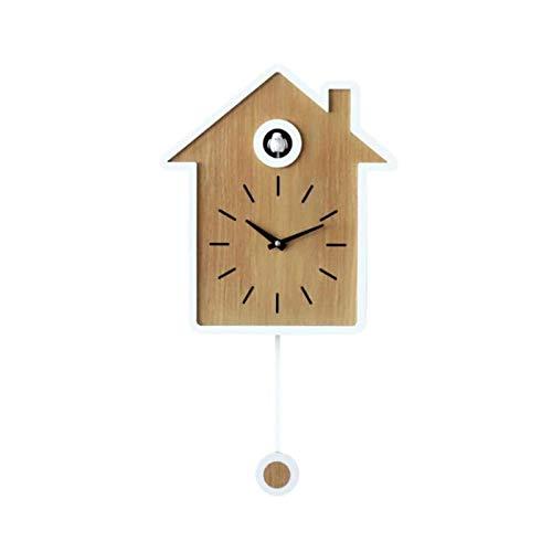 Yiyu Reloj De Cuco Salón Reloj De Pared De Aves Restablecimiento del Reloj De Cuco De La Tarde Moderna Corto Accesorios For El Hogar Despertador j (Color : Natural)