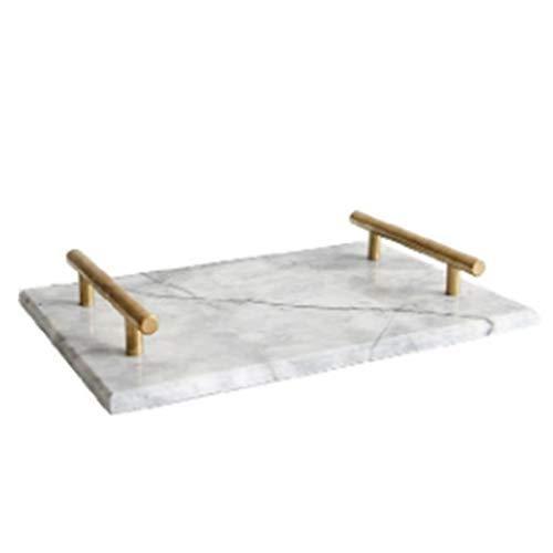 Bandeja de mármol de cerámica con mango chapado en oro de estilo nórdico, bandeja de almacenamiento, placa de almacenamiento, plato de postre, plato de sushi, bandeja de...