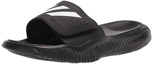adidas Men's Alphabounce Basketball Slides Sandal, Black/White/Black, 7