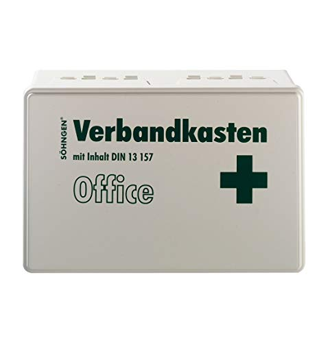 Söhngen Verbandkasten Office aus Kunststoff mit Scharnier und Verschlusslaschen, DIN 13157