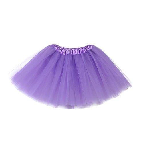 HUIHUI Mädchen Tütü Rock Minirock Organza Pettiskirt 3 Layers Petticoat Tanzkleid dehnbaren informell Mini Skater Rock Ballettroc Tutu Ballett Röcke (Lila)