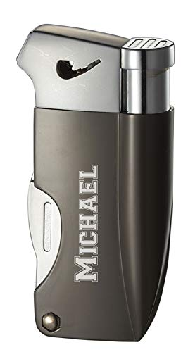Personalized Visol Poseidon Soft Flame Pipe Lighter with Built-in Tools (Grey)